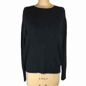 WhoWhatWear Black Sweater with Gold Detail